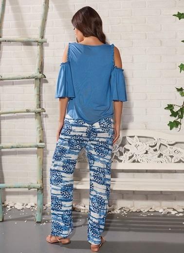 Gizzey Taş Baskılı  Pijama Takım Mavi